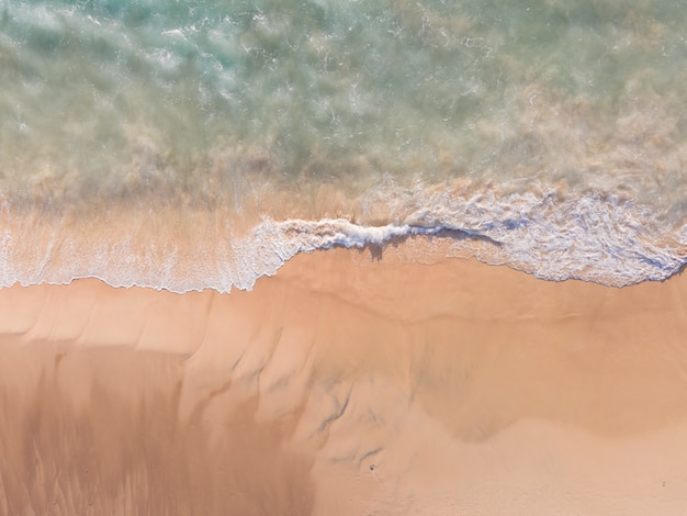 Aerial view of drone top view of beach sea sand and seawater