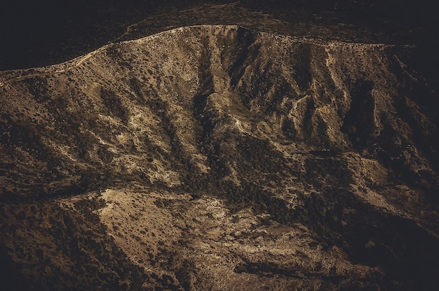 Aerial view of dry mountain range