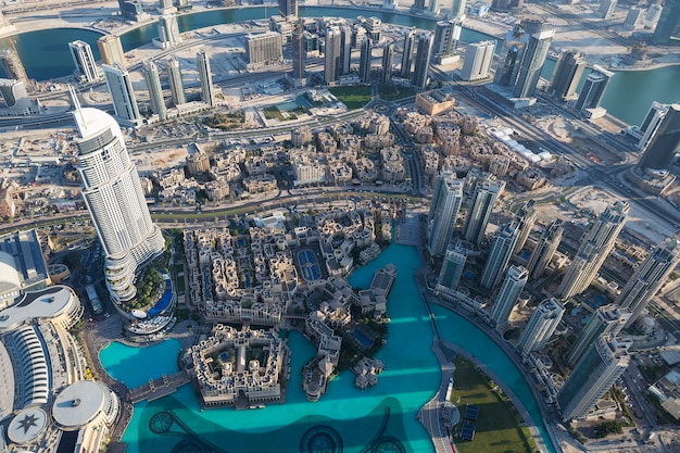 Aerial view of dubai city from the top of a tower.