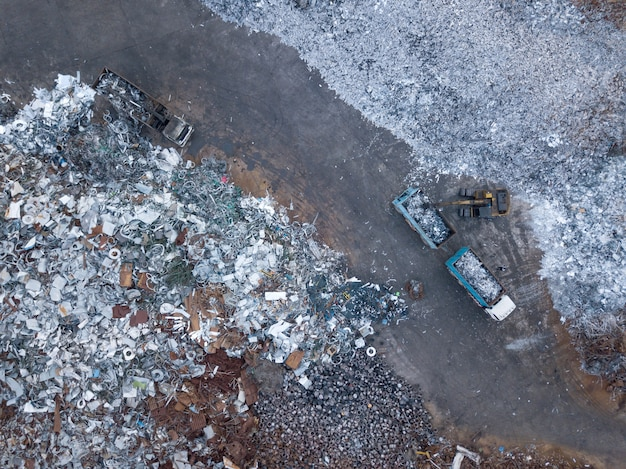 Aerial view of dump with scrap metal recycle