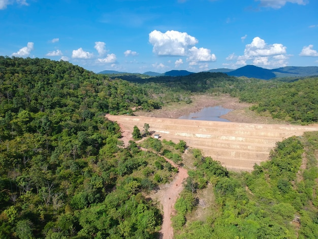 Aerial view of the earthfill dam in the dry season.