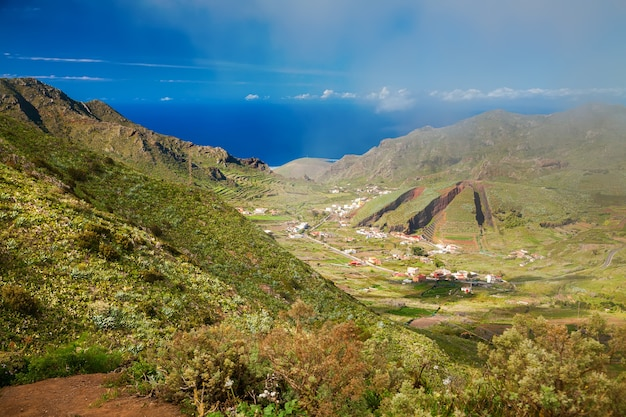 Aerial view of the el palmar valley in the teno mountain range, tenerife, canary islands