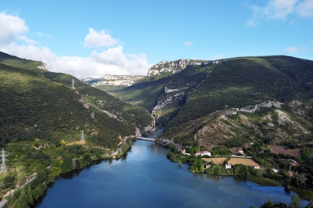 Aerial view of el sobron lake and ebro river canyon in burgos, spain