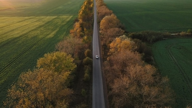 田舎道を運転する電気自動車の空撮
