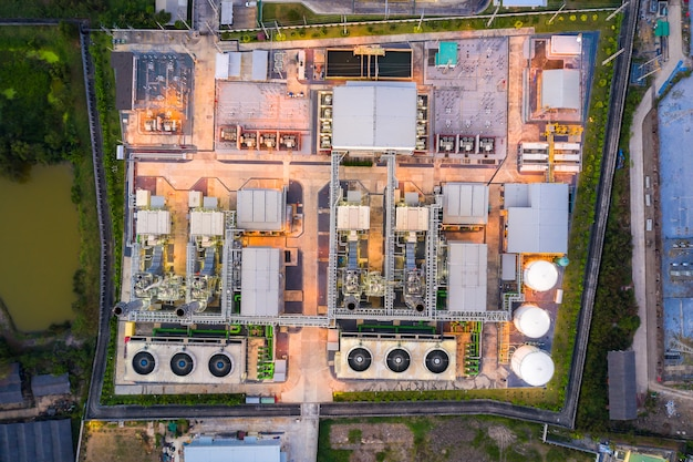 Aerial view of electricity power plant in city at night.