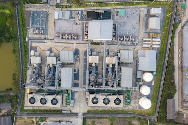Aerial view of electricity power plant in city