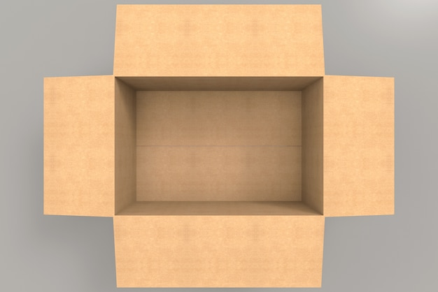 Aerial view of empty brown paper box on gray background.