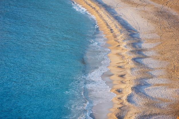 Aerial view of empty oludeniz beach