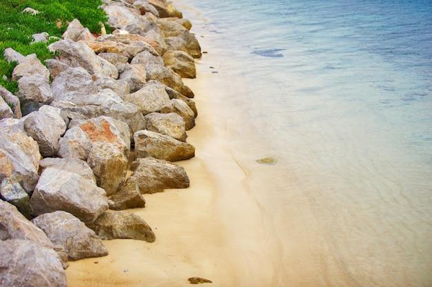 Aerial view of empty rocky oludeniz beach