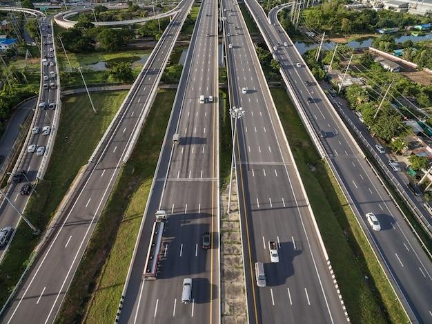 Aerial view of expressway in bangkok city thailand
