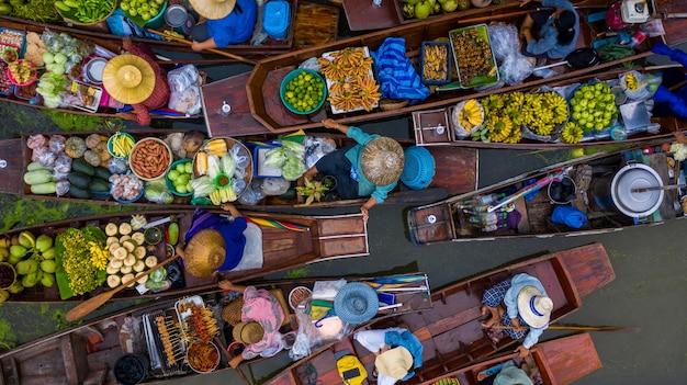Aerial view famous floating market in thailand damnoen saduak floating market ratchaburi thailand