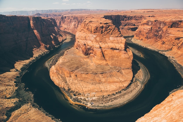 Aerial view of the famous horseshoe bend from curve river in the southwest usa