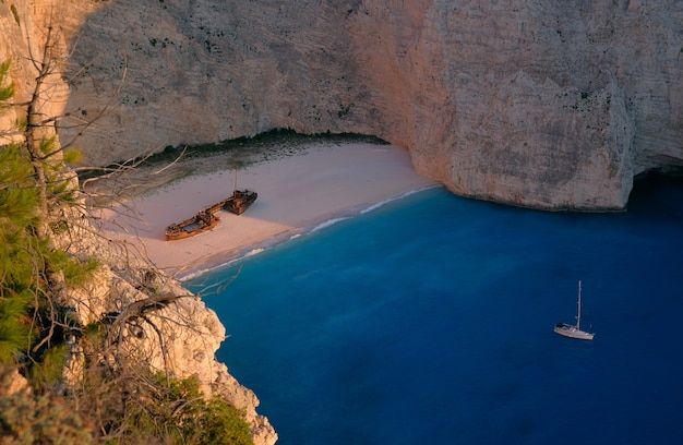 Aerial view of the famous shipwreck point at the elatia, greece