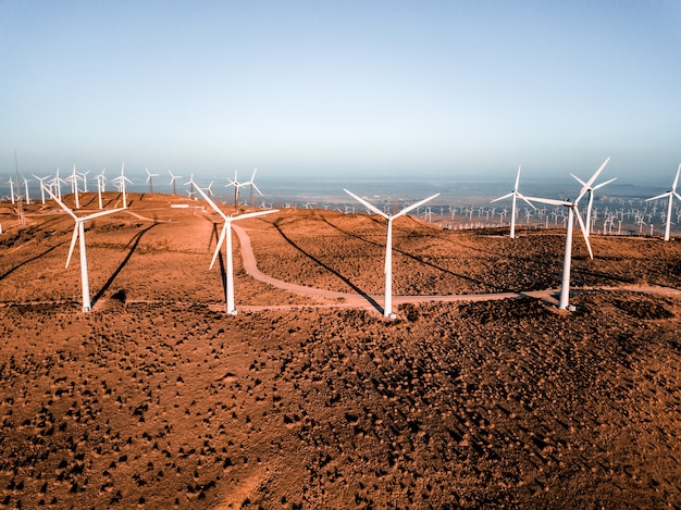 Aerial view of the famous wind turbine farm in nevada, usa