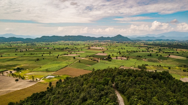 Aerial view of field and mountain at sunset