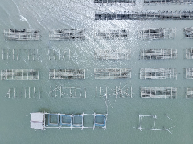 Aerial view of fish cage and oyster farm in thailand