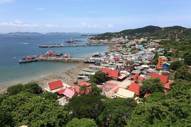 Aerial view fisherman village pier