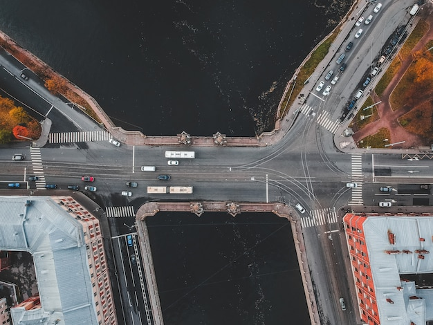 Aerial view of the fontanka river bridge, road traffic, flatley. st. petersburg, russia.