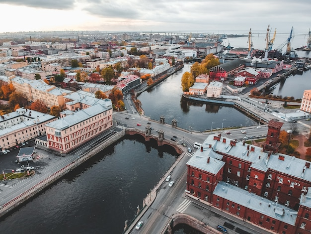 Aerial view of the fontanka river, the historic center of the city, authentic houses. st. petersburg, russia.