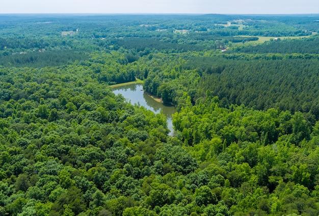 サウスカロライナ州カンポベッロの山々の間の空撮森林湖水夏の自然