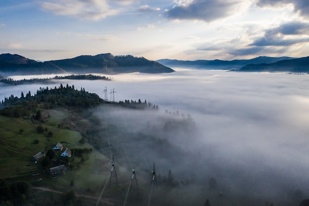 Aerial view of forest shrouded in morning fog on a beautiful autumn day