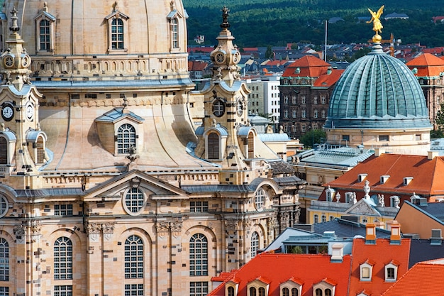 Aerial view over frauenkirche and old dresden