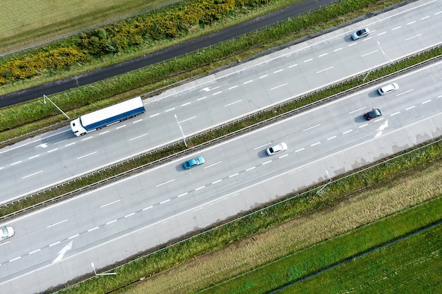 Aerial view of the freeway with various connections. vehicles travel on the roads. modern roads poland