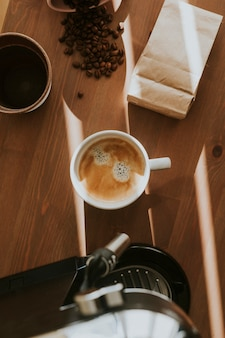 Aerial view of fresh coffee in a cup