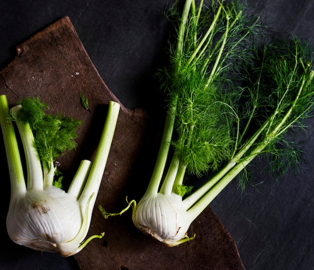 Aerial view of fresh funnel vegetable on black background