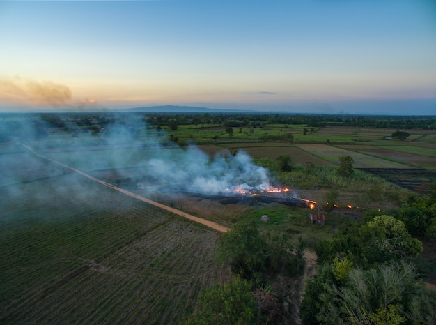 Aerial view from drone farmer burning dry grass at sunset time, sky landscape.