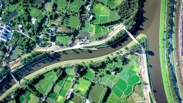 Aerial view from drone on land and river