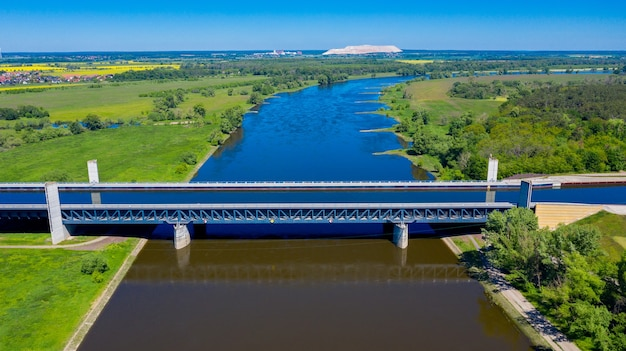 Aerial view from the drone of magdeburg water bridge germany