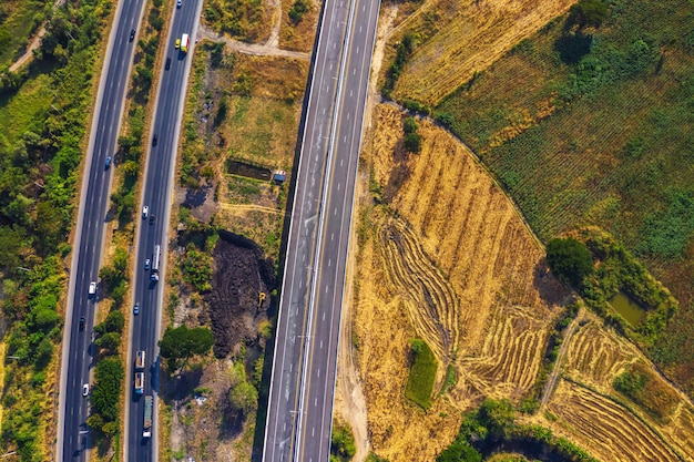 Aerial view from drone of road, mittraphap road, nakhon ratchasima, thailand