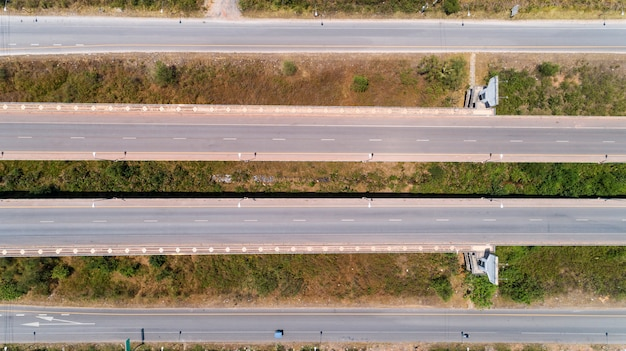 Aerial view from drone shot of highway road