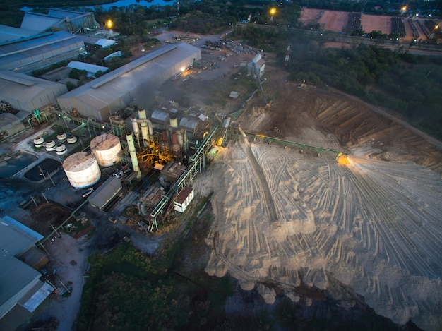 Aerial view from drone sugar factory at night.
