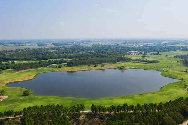 Aerial view from flying drone of fish pond, fish farm