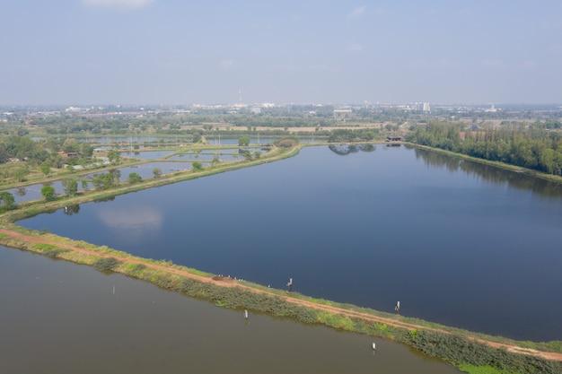養魚池、養魚場の飛行ドローンからの空撮