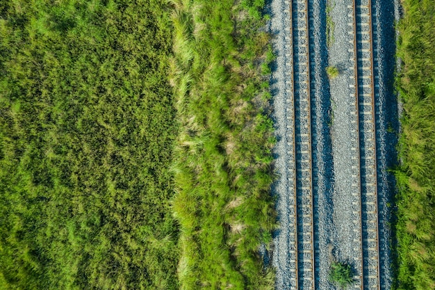 Aerial view from flying drone of railroad tracks