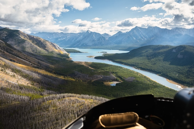 Aerial view from helicopter of rocky mountains