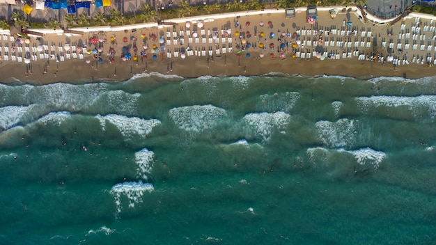 Aerial view from above kusadasi coast beach