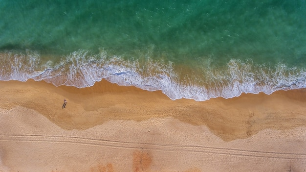 Aerial. view from the sky to the portuguese beach in the algarve, vale de lobo.
