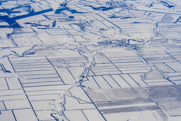 Aerial view of frozen landscape in siberia