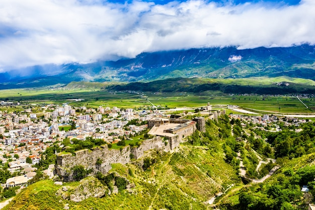 Aerial view of gjirokaster fortress. in albania