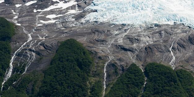 Aerial view of a glacier, lake argentino, los glaciares national park, santa cruz province, patagoni