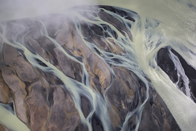 Aerial view of glacier rivers in iceland
