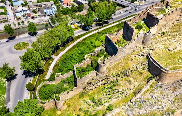 Aerial view of gori fortress in the shida kartli region of georgia