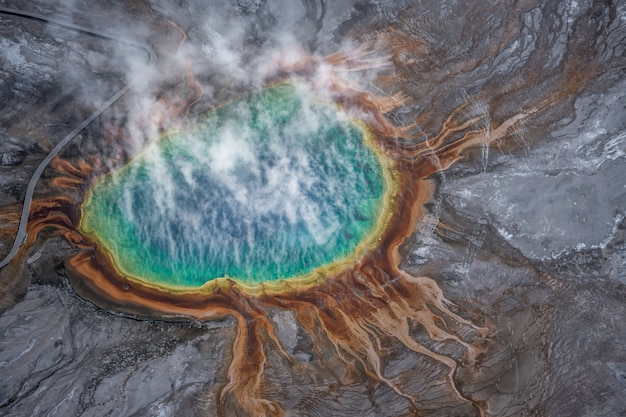 Aerial view of grand prismatic spring in yellowstone national park, usa