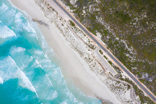 Aerial view of great ocean drive in esperance, western australia, australia. travel and vacation concept.