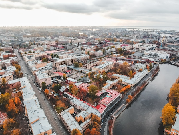 Aerial view of griboyedov canal, roofs of historic houses in the city center. st. petersburg, russia
