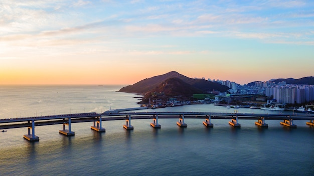 Aerial view of gwangan bridge in busan city, south korea